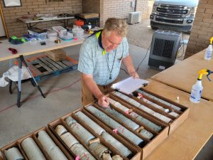 Core logging and sampling at our Wickenburg basecamp preparing the core to be sent to ALS for assaying